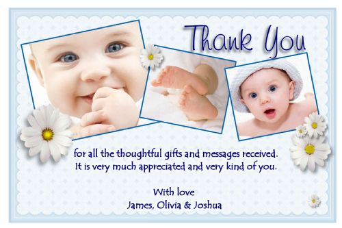10 Personalised Thank you PHOTO Cards N129